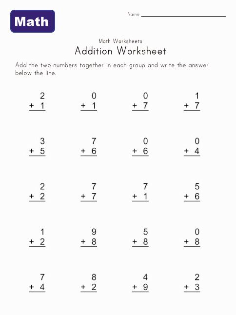 simple addition worksheet 4 | Math Worksheets for Pre-K & K ...