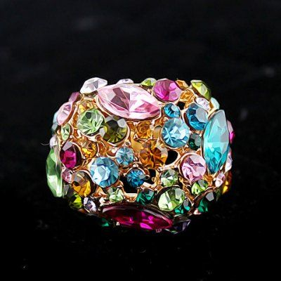 Chic Colorful Rhinestone Ring #shoes, #jewelry, #women, #men, #hats, #watches, #belts