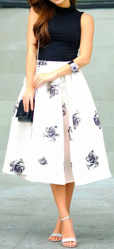 Floral rose swing skirt dresses pinterest swing for Black floral dress to a wedding