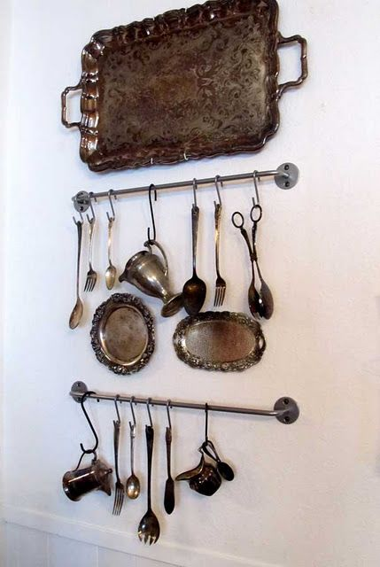 Silver wall display like to do this in kitchen for more than silverware