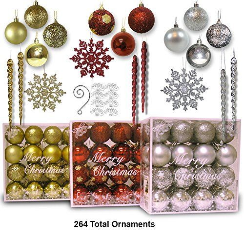 Christmas Ornaments Assorted Combo Of 564 Ornaments And Decorative Ornament Hangers 264 Combination Of Snowflakes Ball And Icicles And 300 Decorative Scro Gold Christmas Ornaments Red Ball Ornaments Christmas Ornaments