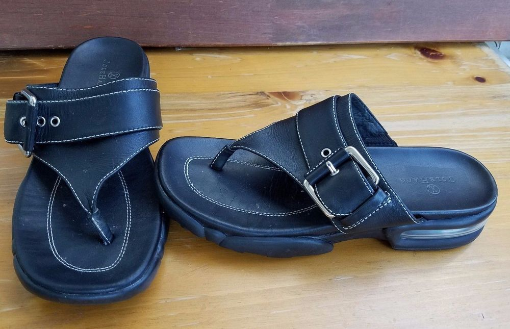 05a2b675a02d Cole Haan Nike Air Sandals Womens Size 6 B Thong Black Leather Wedge   ColeHaan  Slides  Casual