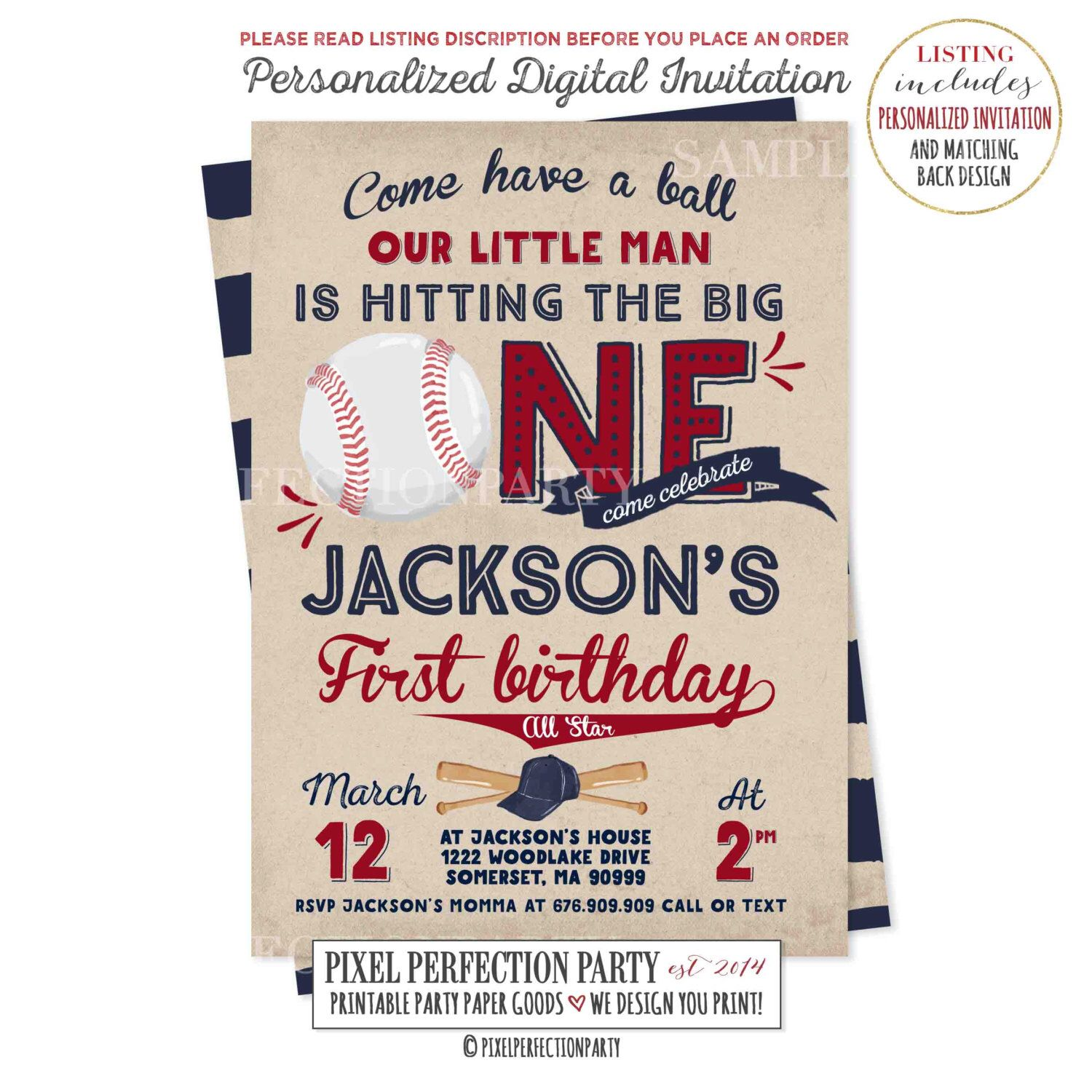 Baseball Birthday Invitation First Boy 1st Vintage