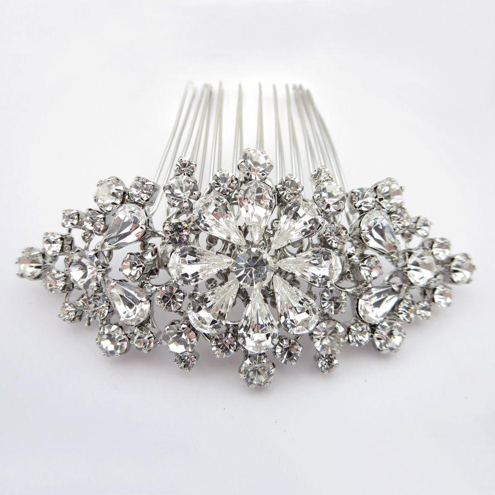 Antique Rhodium Silver Rhinestone Vintage Prom Bridal Wedding Hair Comb