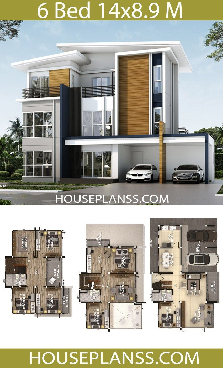 House Plans Idea 14x8 9 With 6 Bedrooms House Plans 3d 6 Bedroom House Plans Duplex House Design Dream House Plans