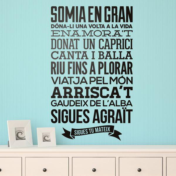 Vinil decoratiu tipogr fic de frases en catal regles de - Amor en catalan ...