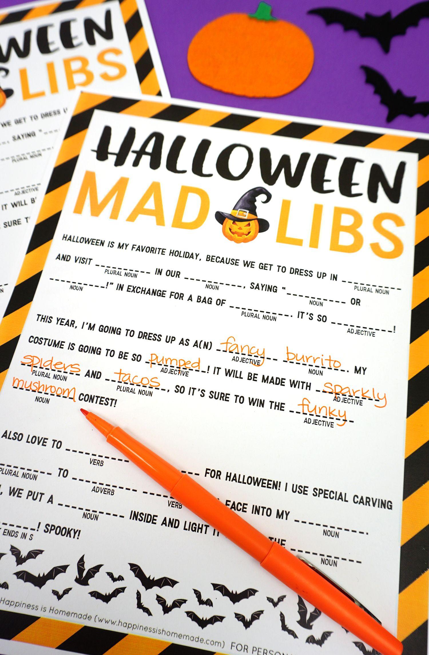 Halloween Mad Libs Printable