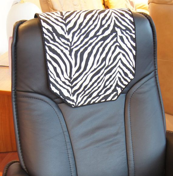 Recliner Chair Headrest Cover Black & White Zebra by ...