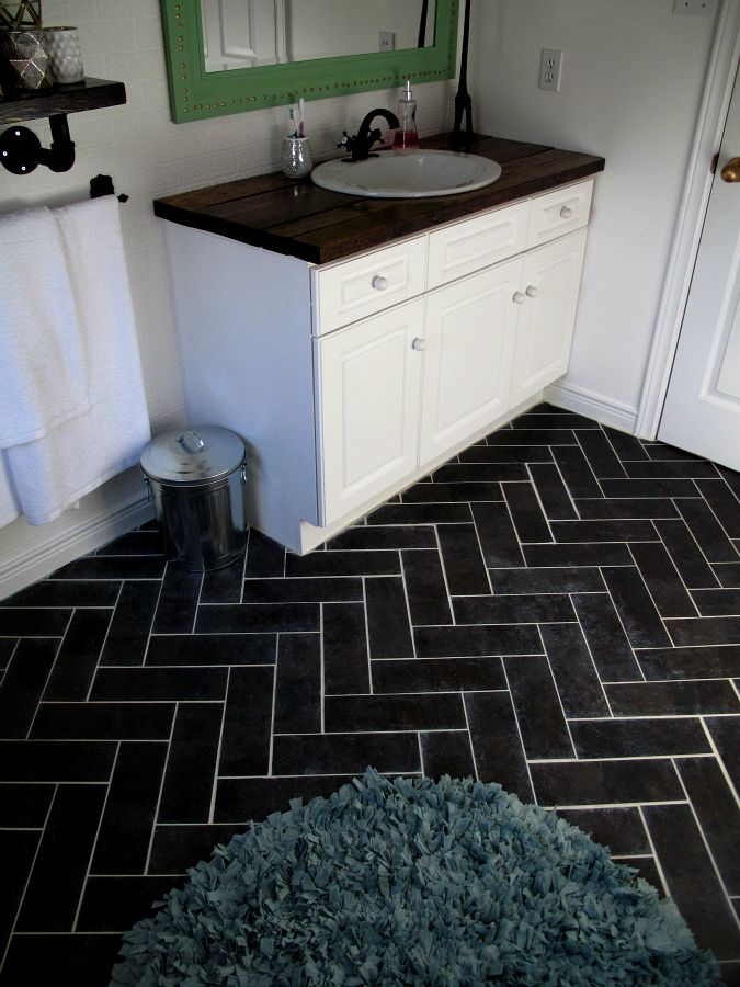 Herringbone bathroom floor luxury vinyl tile diy for Diy kitchen floor ideas