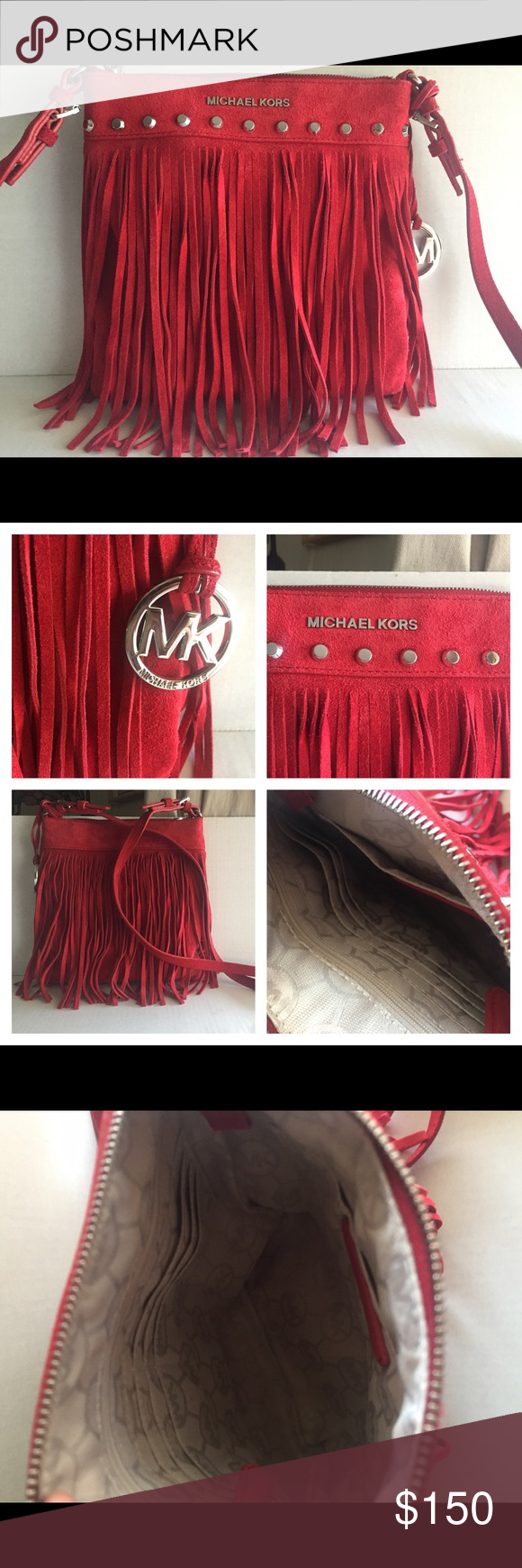 """Michael Kors Billy Red Suede Crossbody Michael Kors Billy Fringe Suede red. Fully lined six slots for credit cards, zipper closure pocket, slide pocket, silver hardware. Measures 9.5"""" long x 9"""" tall c 1""""wide. New without tags attached. Never used! Michael Kors Bags Crossbody Bags"""