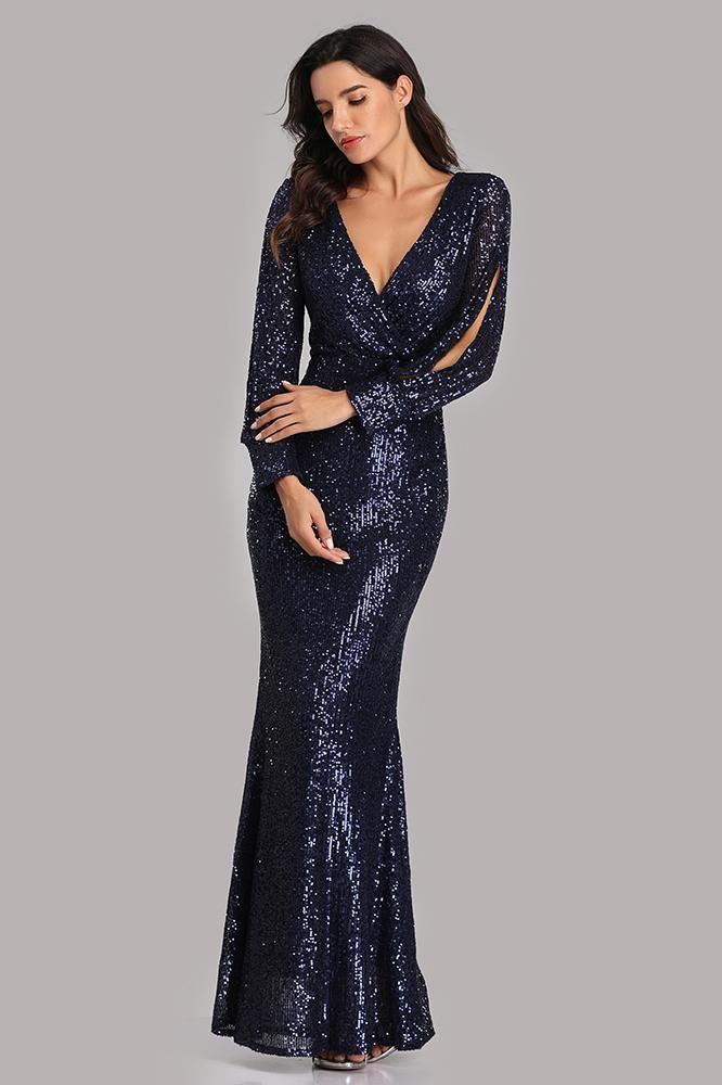 Sparkly Navy Blue Sequins Evening Dresses 2021 Trumpet
