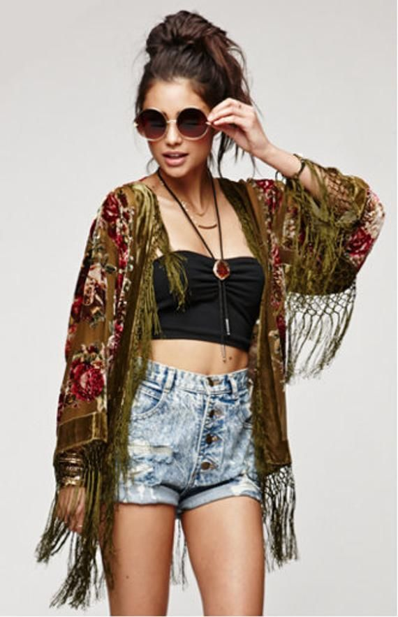 45ac1c261 SALE 20% OFF // Olive Floral Velvet Burnout Gypsy Fringe Beaded Kimono  Jacket