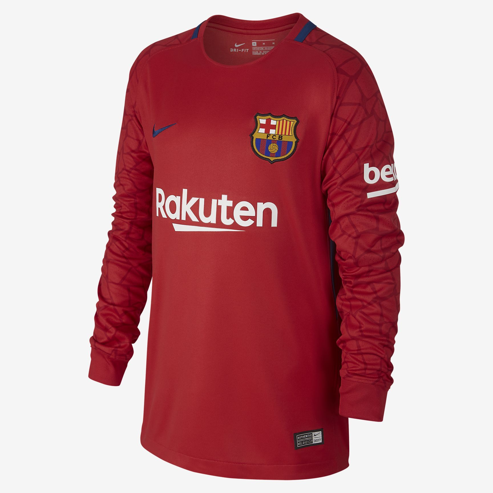 42c8b8e44 2017 2018 FC Barcelona Stadium Goalkeeper Older Kids  Long-Sleeve Football  Shirt