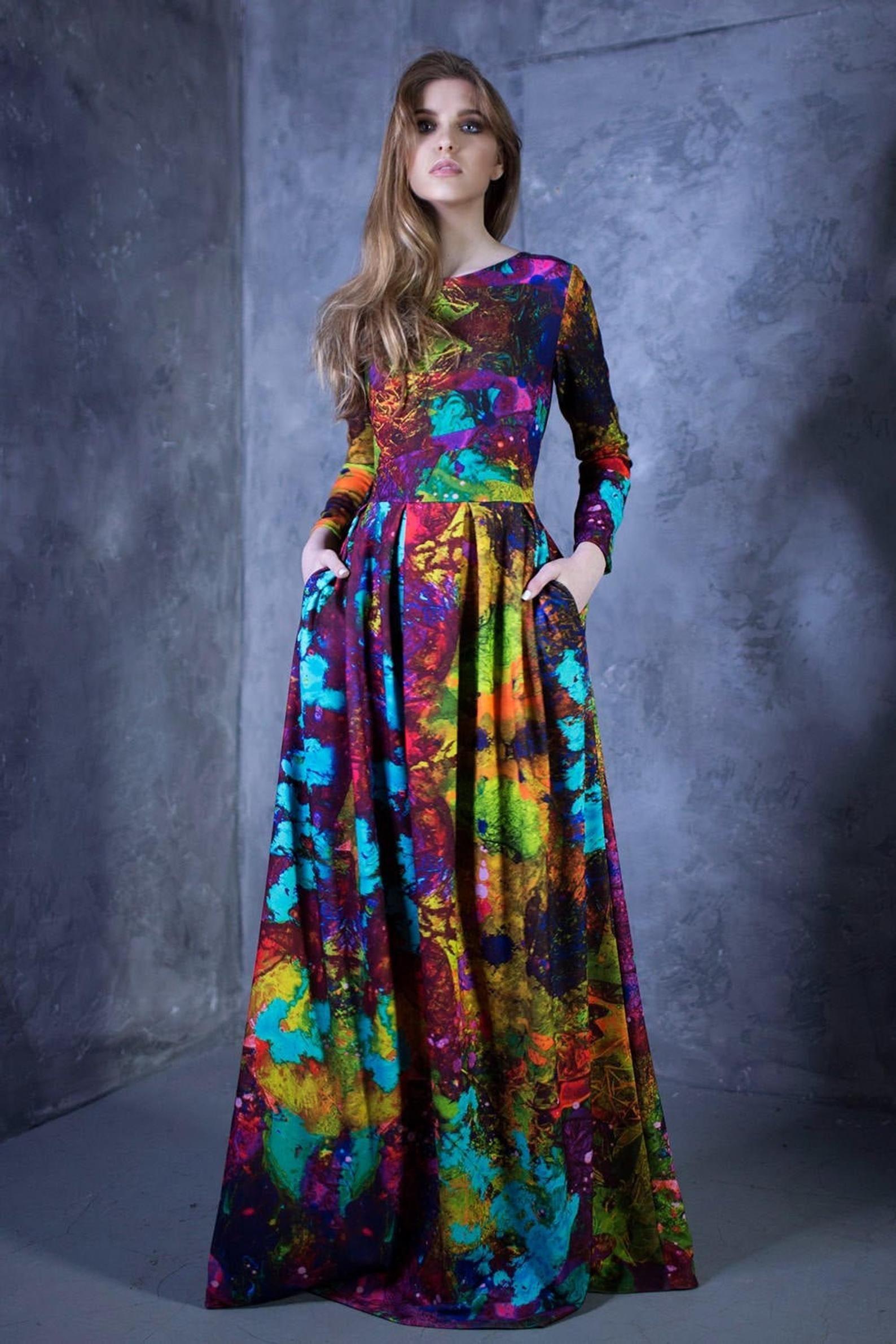 Maxi-Kleid lange Ärmel buntes Kleid abstrakte Kleid Kleid  Etsy