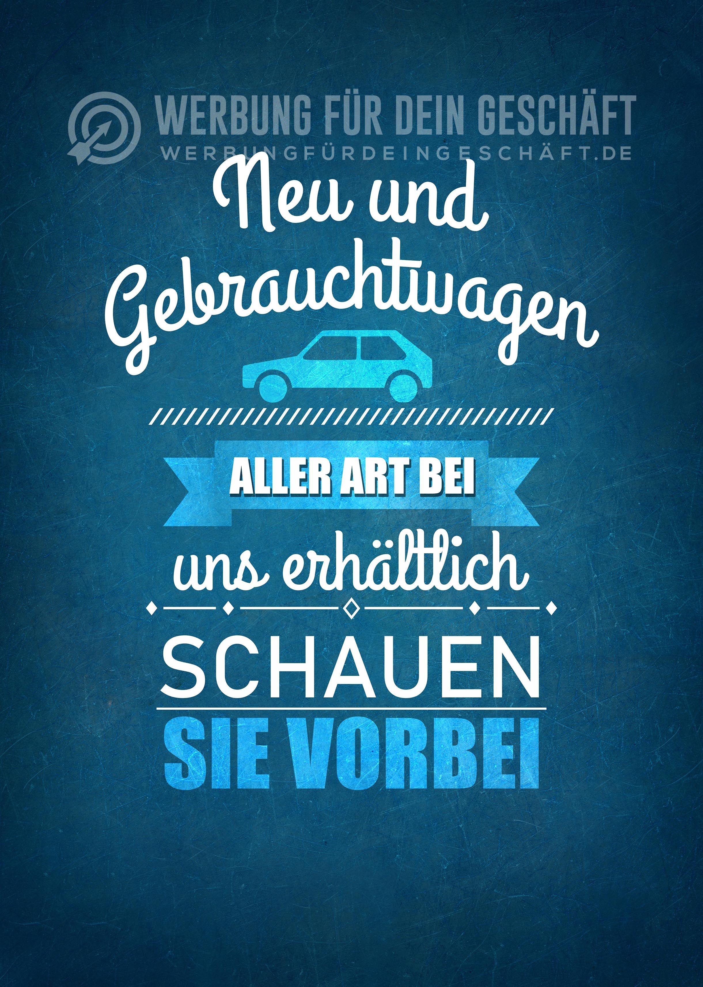 Dieses Werbeposter Neu Und Gebrauchtwagen Aller Art Kann