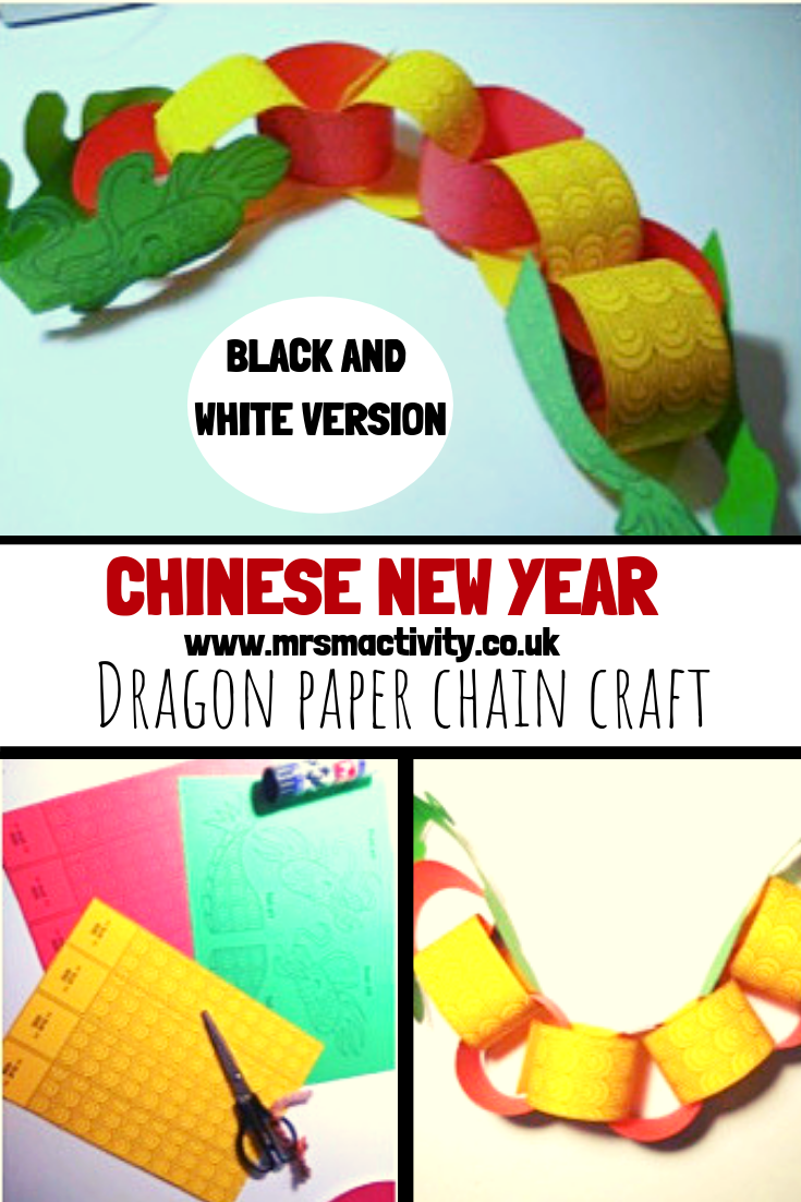 Chinese New Year Dragon Paper Chain Craft - Black/White | Mrs Mactivity
