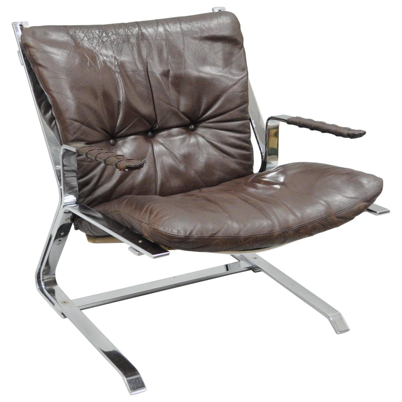 Pirate Lounge Chair Leather Flatbar Chrome by Elsa & Nordahl Solheim ...