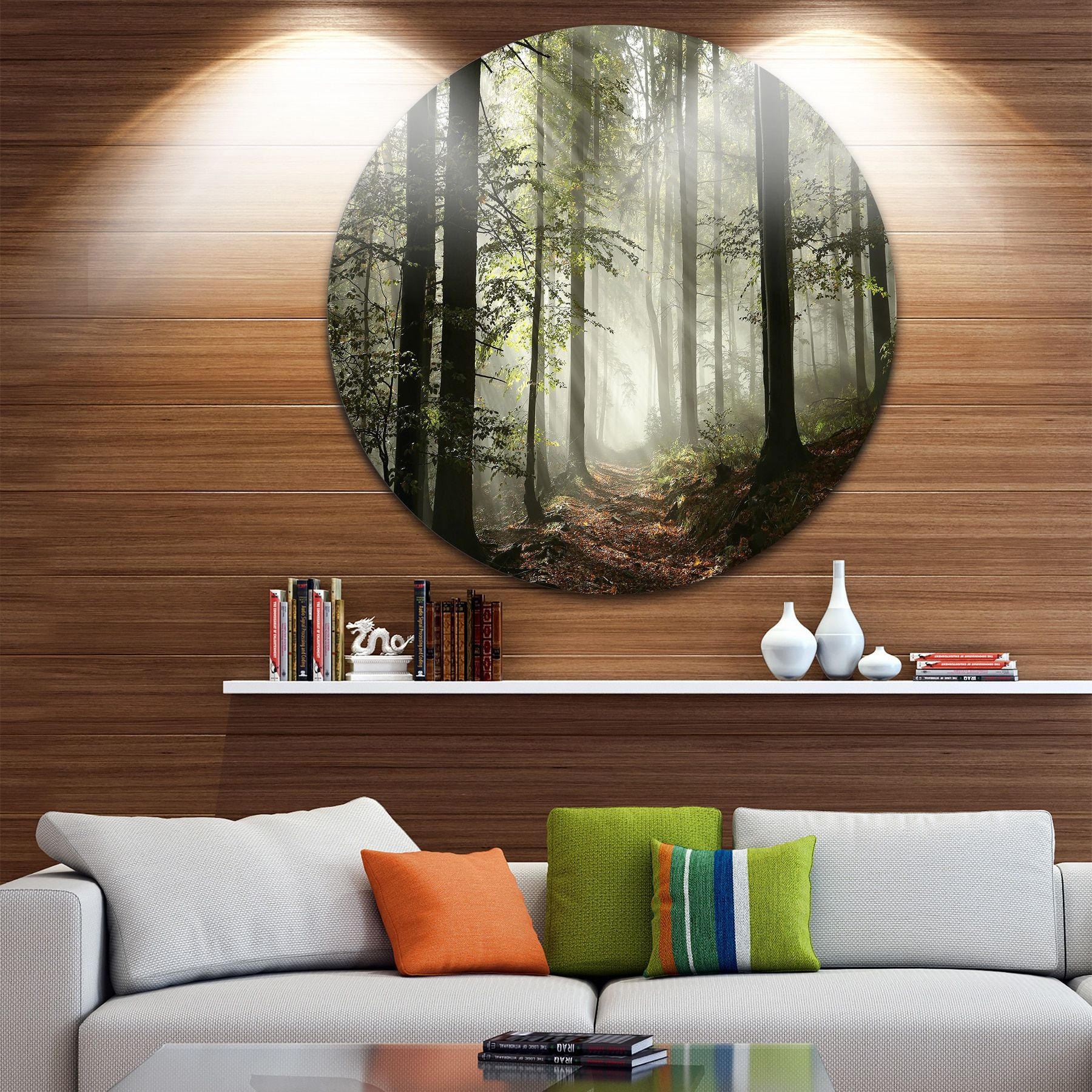 Designart 'Light in Dense Fall Forest with Fog' Landscape Disc Metal Wall art