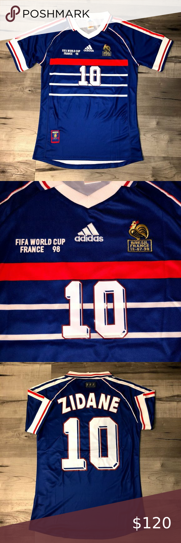 1998 World Cup France 98 Zidane Jersey Vintage Adidas Authentic 1998 World Cup France Zidane Fan Version Home Blue Jersey In 2020 Adidas Shirt Clothes Design Jersey