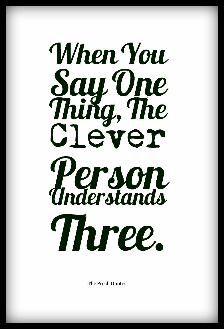 Clever Quotes About Life Whenyousayonethingthecleverpersonunderstandsthree