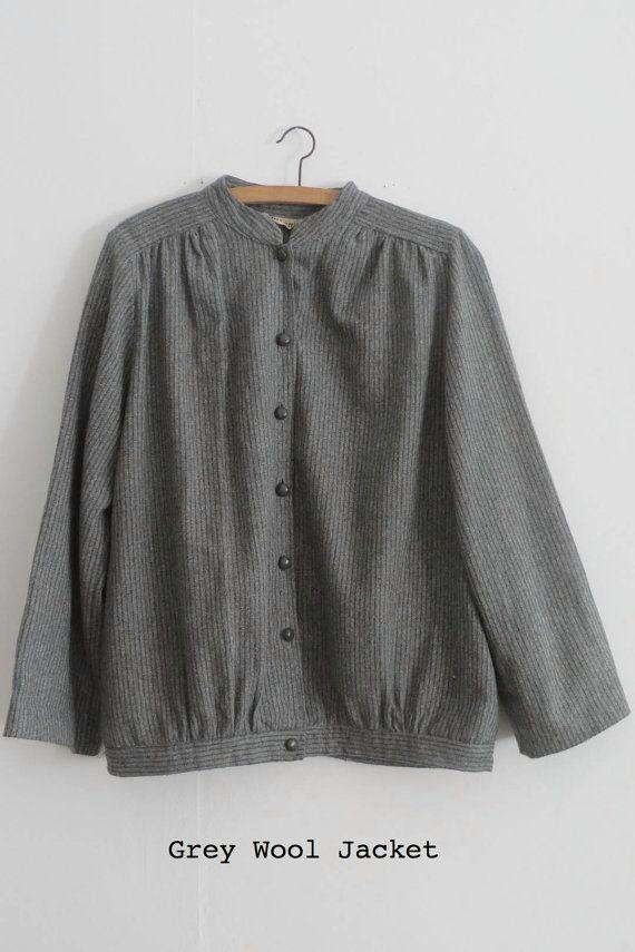 Grey Wool Pinstriped Jacket by singlegreenfemale on Etsy