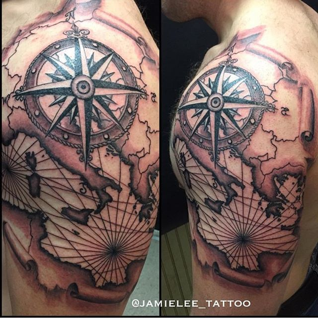 Mediterranean nautical map & compass by the one & only @jamielee_tattoo This young lady will be ...