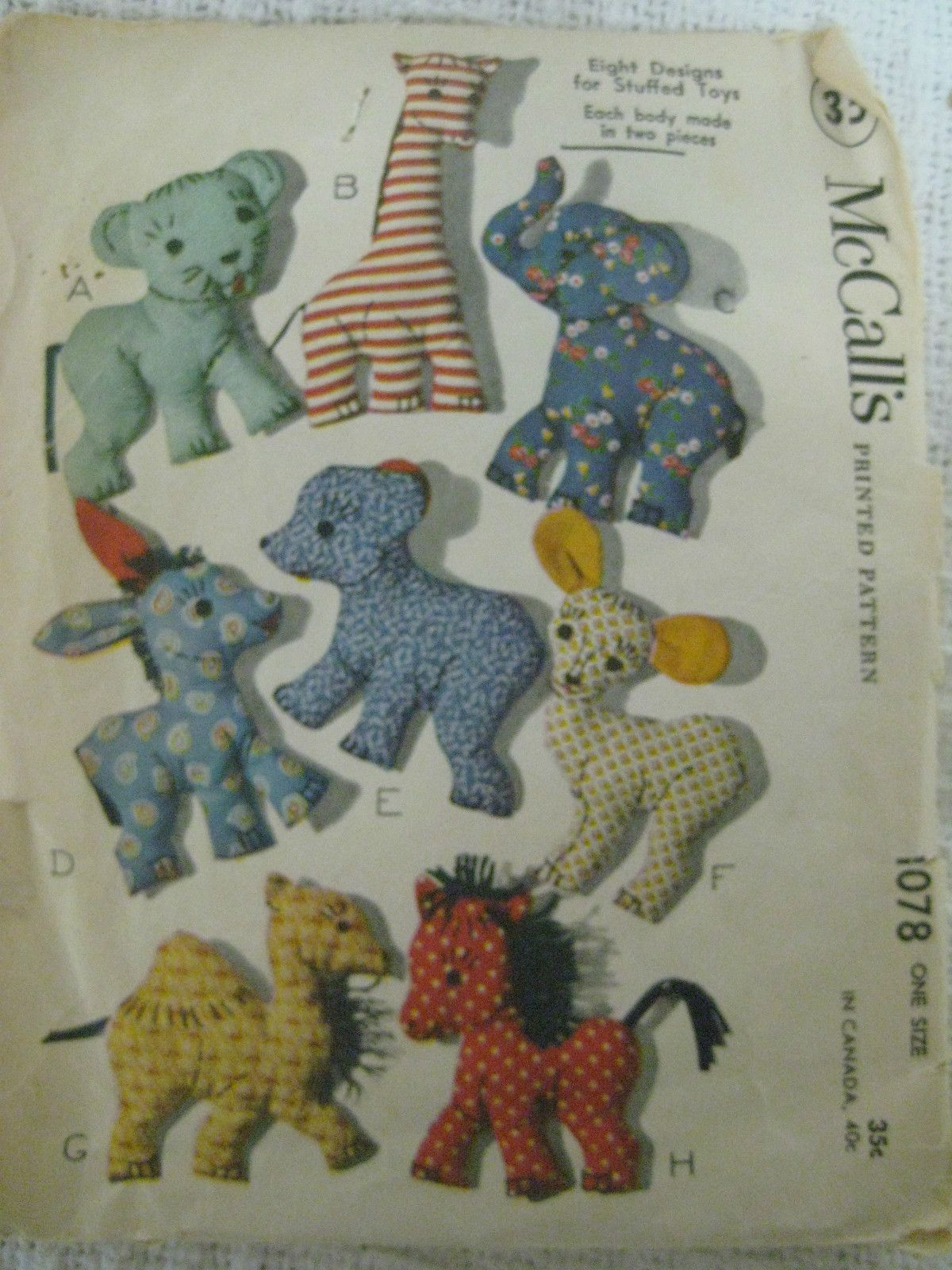 Stuffed Toy Pattern 1078 Easy To Make Vintage 1950s Toy Patterns 8