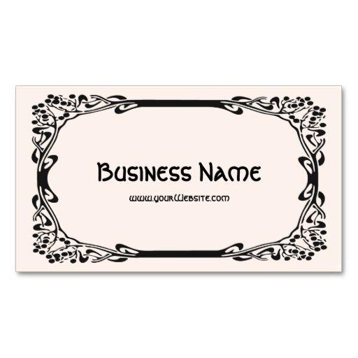 Art Nouveau Retro Elegant Black Decorative Border Business Card Zazzle Com Art Nouveau Business Card Sophisticated Business Card Business Card Design