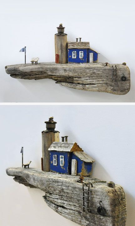 Photo of Maritime sceneries made of driftwood and metal collection