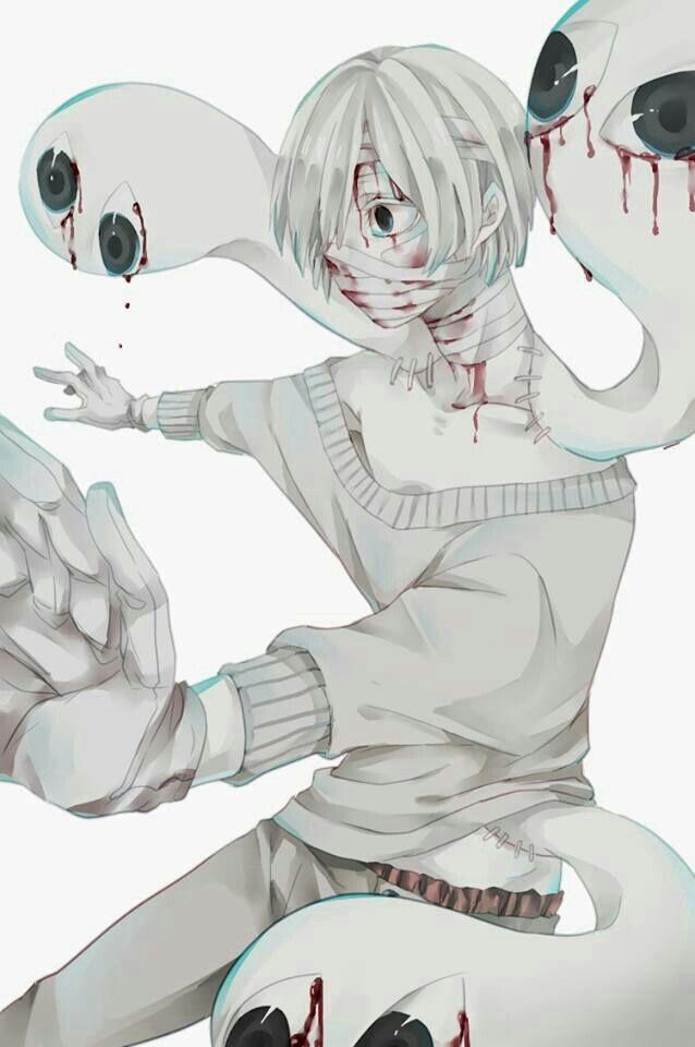 Anime Boy White Hair Blood Monsters Black Eyes Bandages Mask