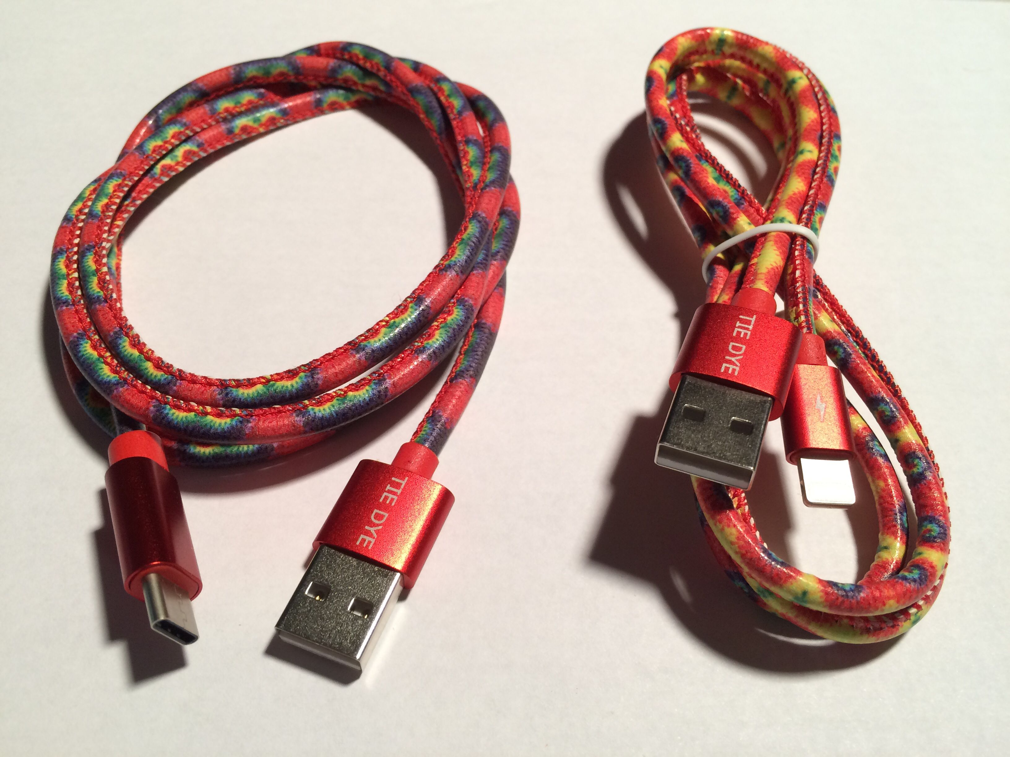 Vibrant Usb Tie Dye Charging Data Sync Cable Apple Android Compatible Tie Dye Designs Colored Cables Leather Bracelet