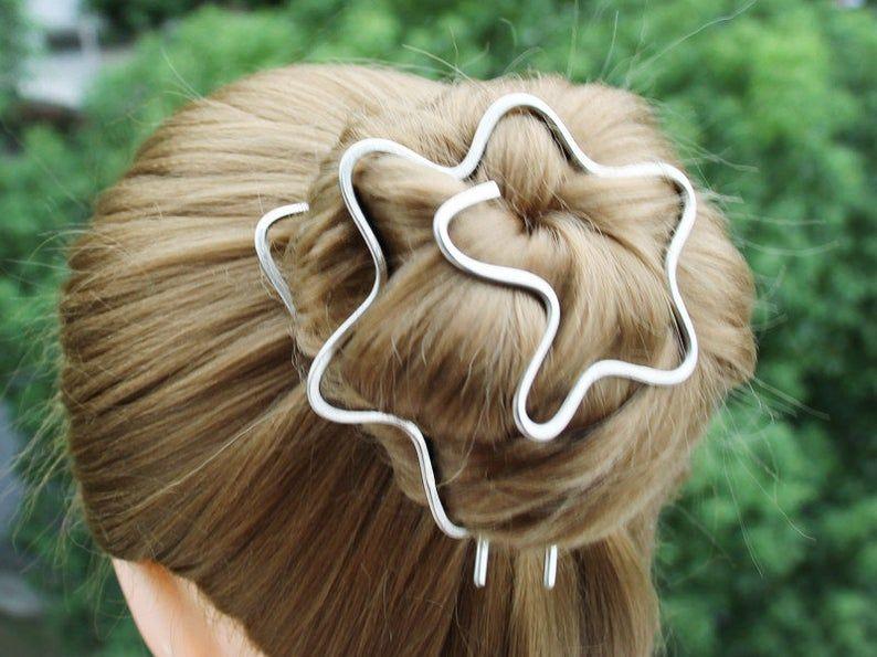 Hair Stick Pins,Hair Accessories, Copper hair bun slide copper hair fork,Hair Pins,Hair Pins