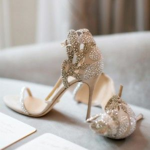 Champagne Sequined Sandal Heels Winter Wedding Ideas Chic Fashion