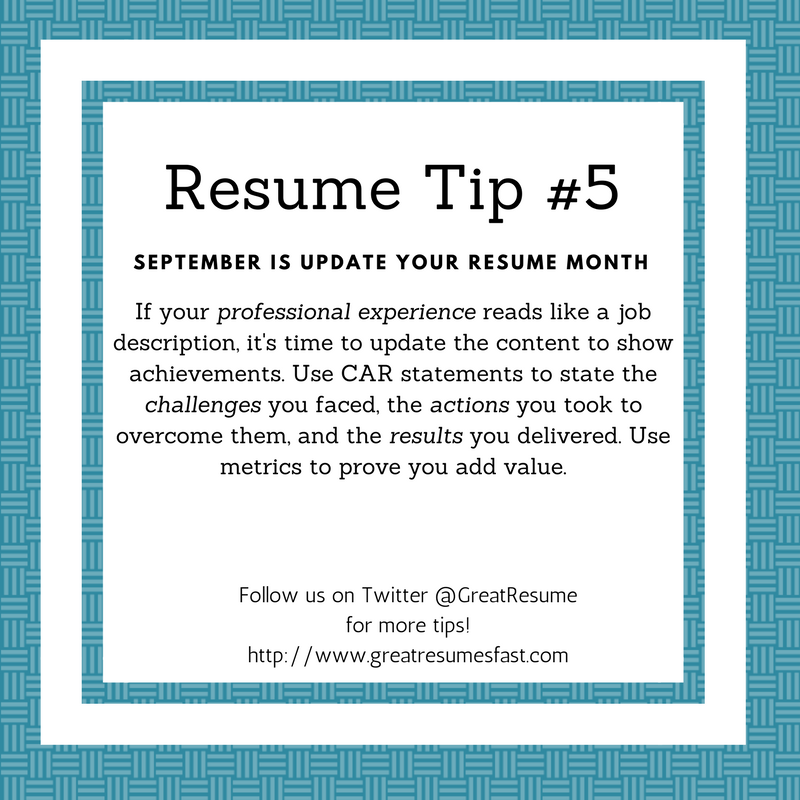 resume writing tips for september update your resume month resume