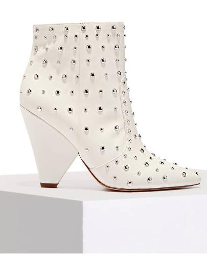 9da4ee287f25 Studded White Cone Heel Bootie