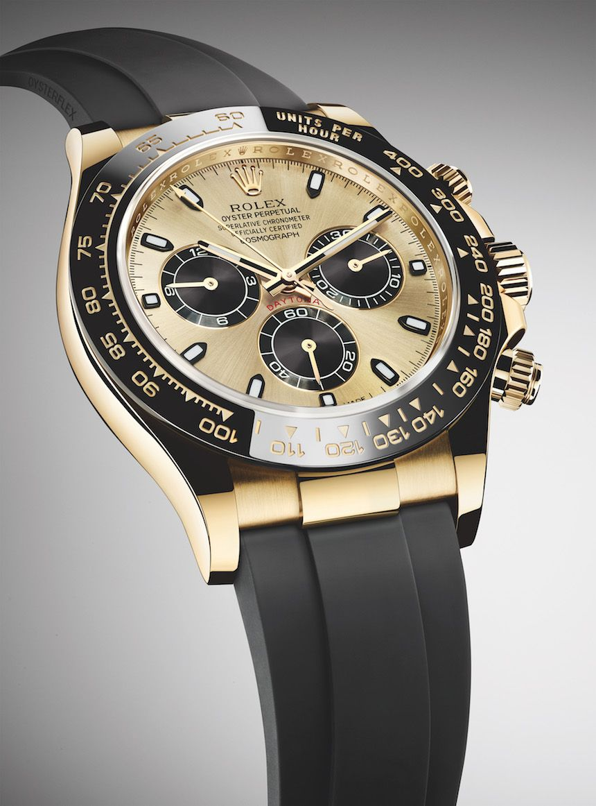 5b148e35e57 New Rolex Cosmograph Daytona Watches In Gold With Oysterflex Rubber Strap    Ceramic Bezel For 2017 Watch Releases