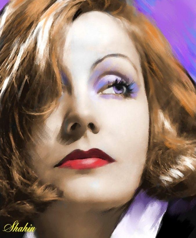 Shahin Gholizadeh | pintor pastel iraní digital | Greta Garbo 1905-1990-