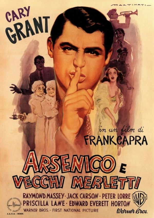 Arsenic and Old Lace (1944)): Dir. Frank Capra; written by Julius J. Epstein (screen play), Philip G. Epstein (screen play), and Joseph Kesselring (play); starring Cary Grant, Priscilla Lane, and Peter Lorre.  Great snappy dialogue!