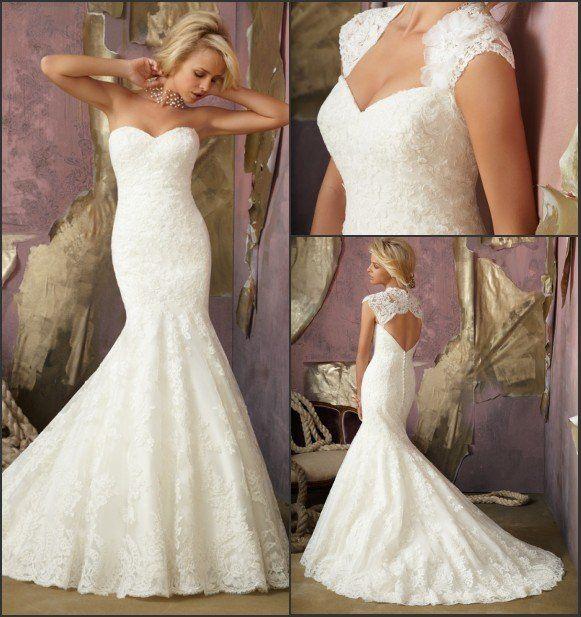 Elegant Alencon Lace Removable Keyhole Coverlet Bridal Wedding Gown Mermaid Tail