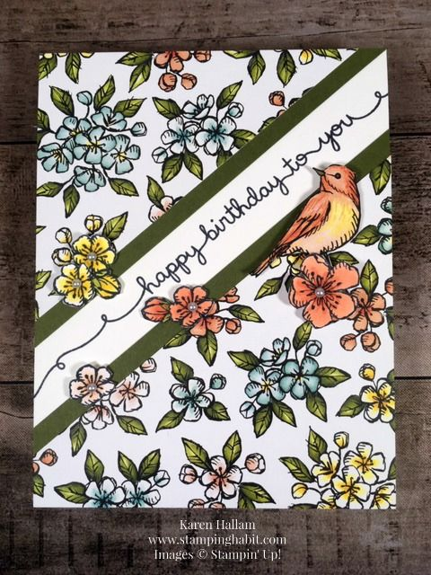 bird ballad dsp, free as a bird stamp set, birthday card idea, stampin up, karen hallam, stampinup #stampinup!cards