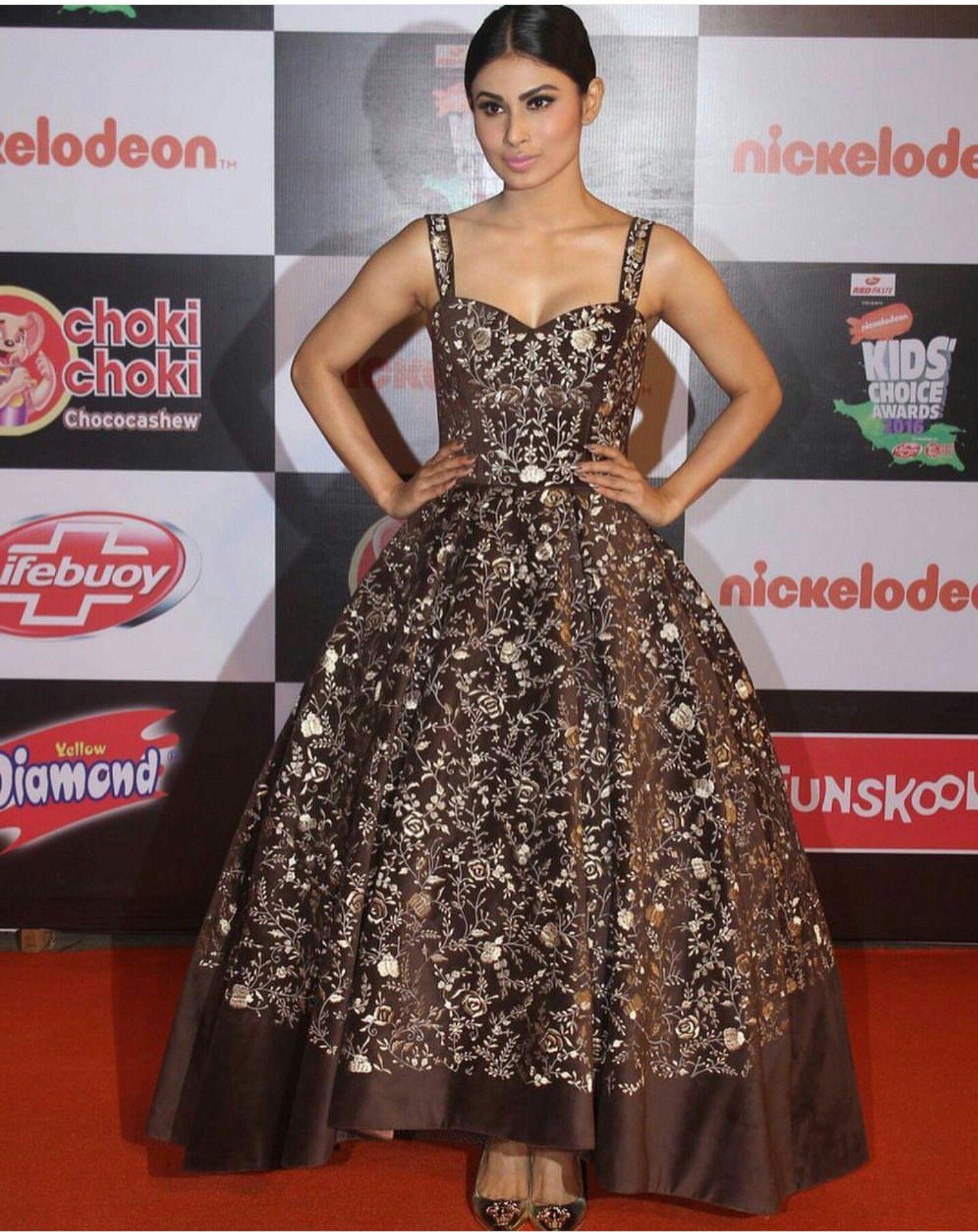 Mouni Roy wearing black and golden dress Red Carpet Looks