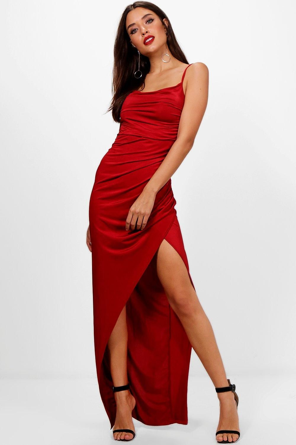 Red Backless Dress with Beaded Detail From Boohoo