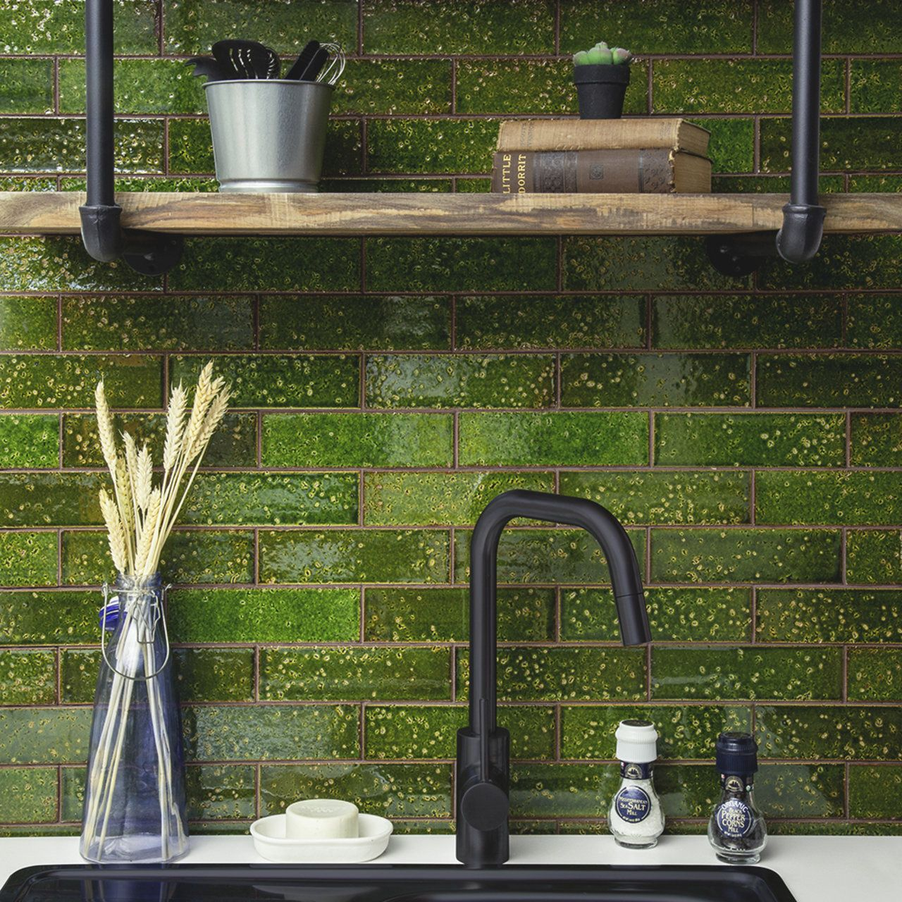Variegated Green Subway Tiling By Nemo Tile Stone Adds A