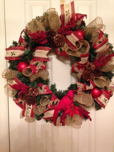 A Country Christmas Wreath for sale on Etsy (PinkSugarplumCottage - christmas decorations sale