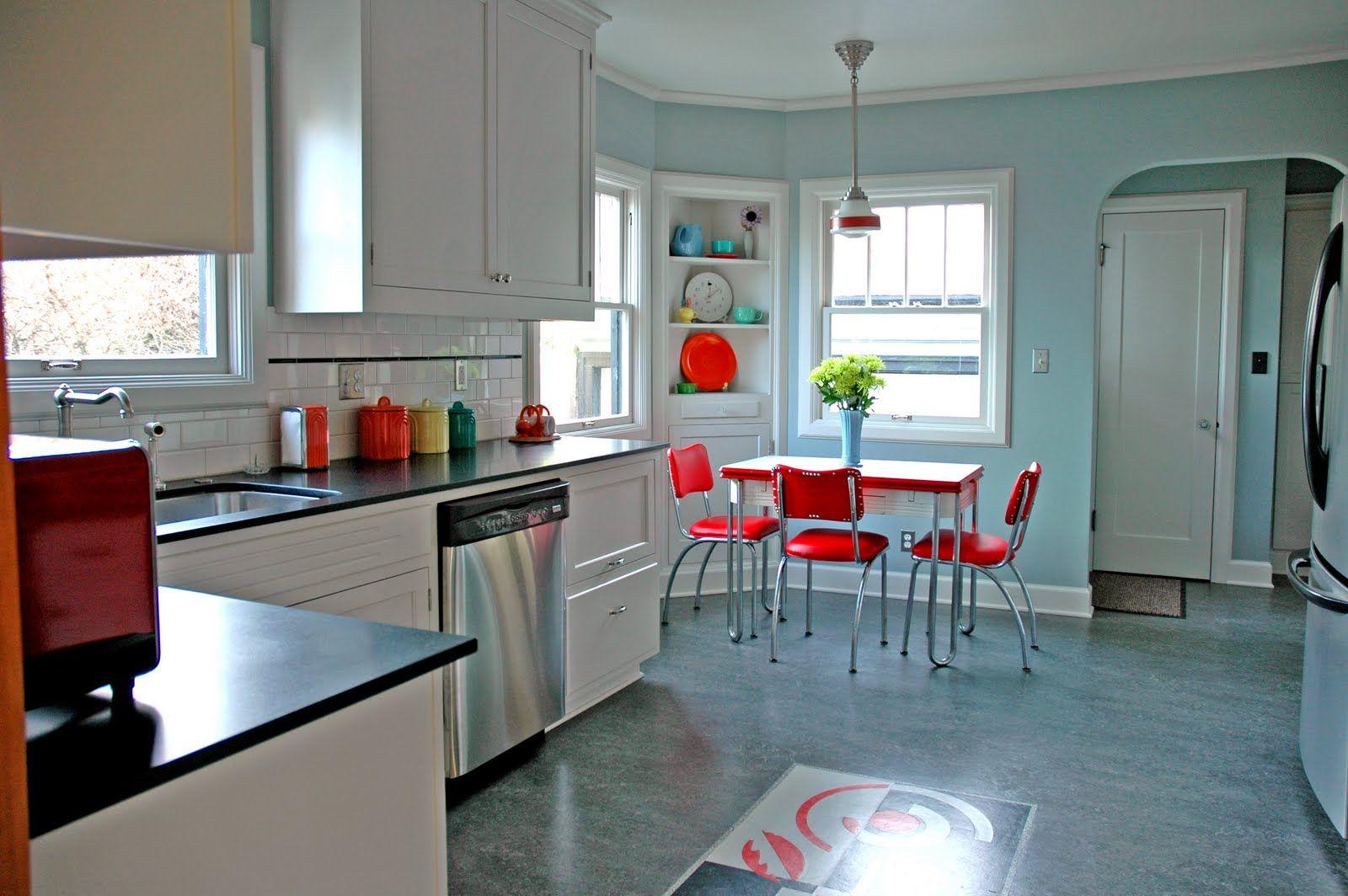 1929 English Tudor Kitchen Remodel Featuring Custom Art Deco Inspired Inlay  Linoleum Floor