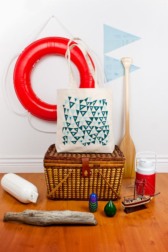 Seawind & Willows. Graphic Nautical Tote Bag. 2011 Triangle Series.