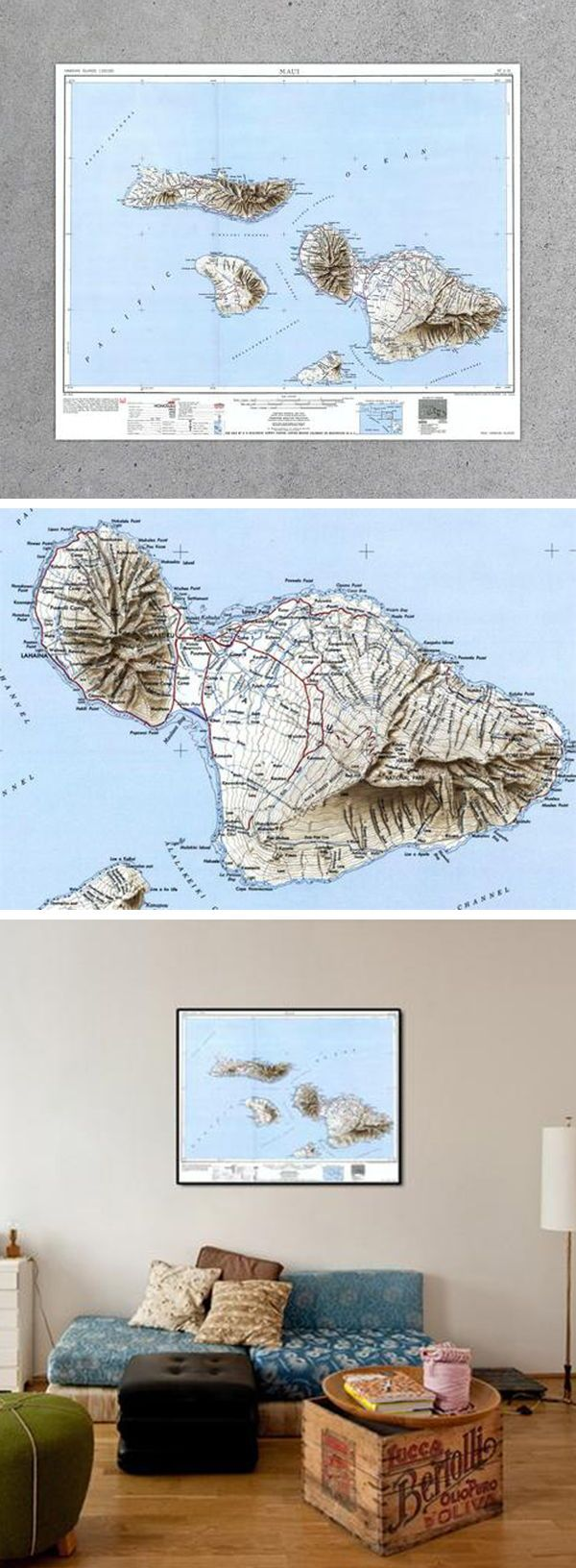 Topographic Map Of Maui.Maui Hi 1951 Usgs Map Globes Maps Vintage Maps Map Inspired