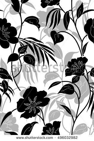Seamless Black And White Floral Pattern Floral Pattern Pattern Floral