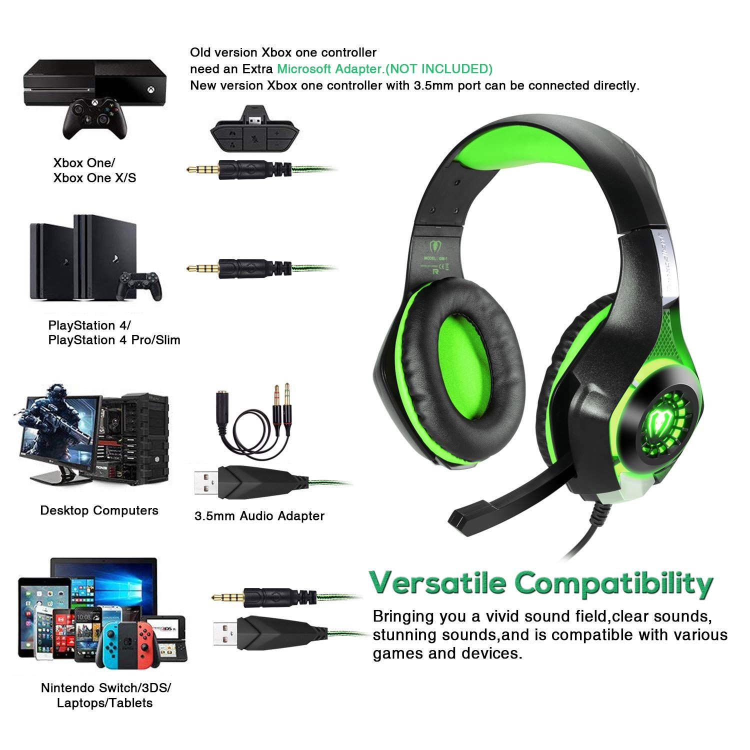 Bluefire 3 5mm Ps4 Gaming Headset Headphone With Microphone And Led Light Compatible With Playstation 4 Xbox One Pc Ps4 Gaming Headset Headset Gaming Headset