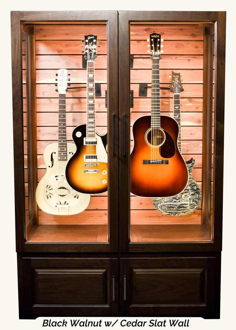 Multi Instrument Humidified Guitar Display Cabinet Interior Accents Guitar Storage Guitar Display